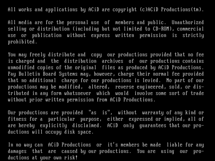 ACiD Productions' Legal Disclaimer by ACiD Staff
