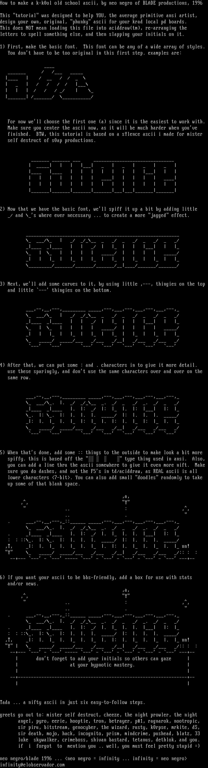 ascii tutorial by neo negro